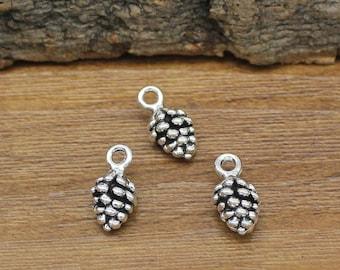 1 Pine cone charm silver tone L102