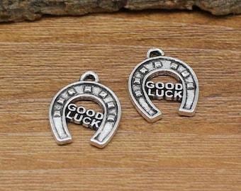 30pcs Antique Silver Good Luck HorseShoe Charms Pendant 17x14mm C2367-Y