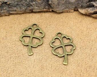 25pcs Antique Bronze Four Leaf Clover Charms Pendant 2 Sided 28x18mm C1968-T