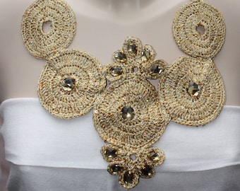 Crochet necklace made of lurex or cotton blended with microsequins embellished with rhinestones