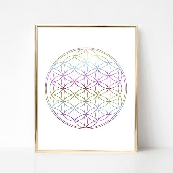 Flower of life - Rainbow print - Sacred Geometry Print - Crown chakra -  Geometry Print, Spiritual Meaning, Money Manifestation - Minimalist