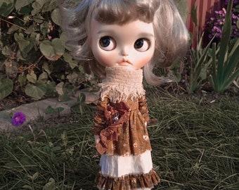 W Dress. Outfit Blythe, Pullip, Obitsu. Dress,skirt,knee socks. Dress for Blythe, Clothes for Blythe.