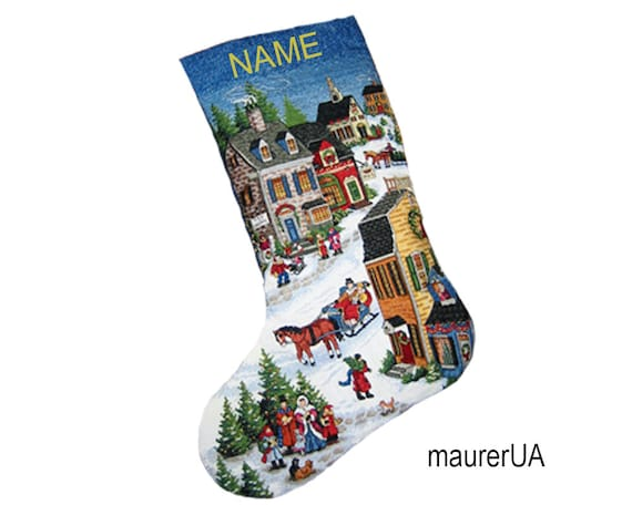 Personalized Christmas stockings Embroidered Xmas stocking Custom embroidery Christmas decor Handmade cross-stitch Family Xmas stockings