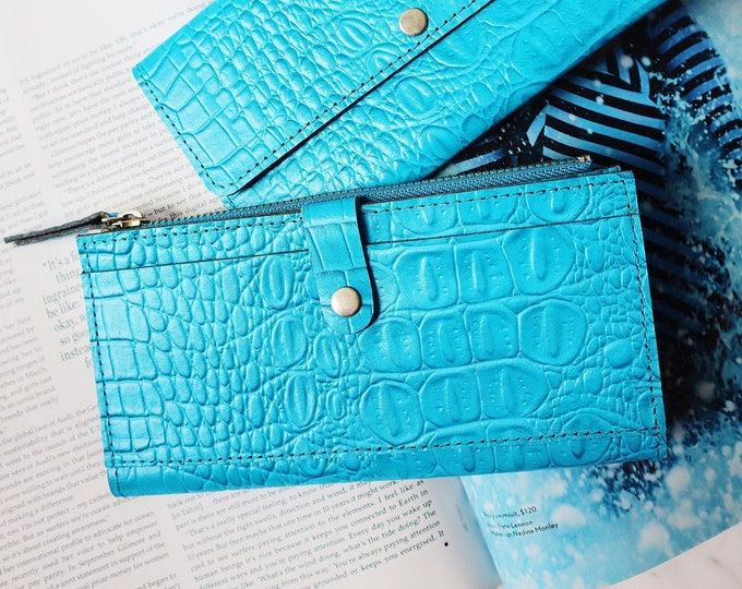 Featured listing image: Leather Croc-effect Zip Wallet | Available in 2 colours