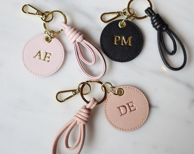 Featured listing image: Monogrammed Leather Keyring