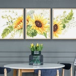 Sunflower Wall Art – Flower Art for Sunflower Wall Decor Set of 3 Watercolor Flowers Printable Art for Farmhouse Kitchen Wall Decor