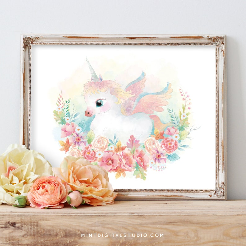 Watercolor Unicorn Painting Unicorn Printable Wall Art image 0
