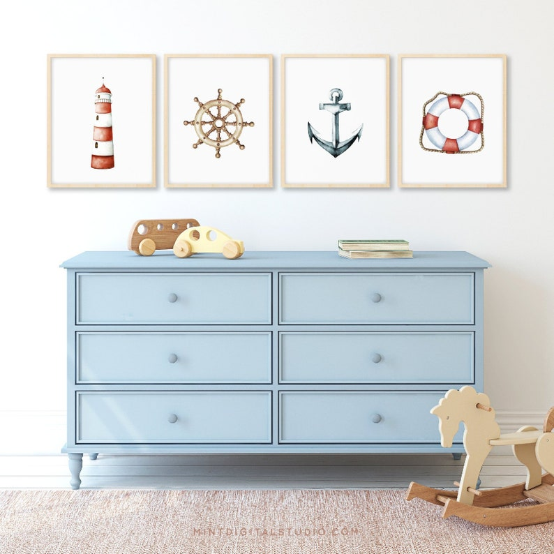Set of 4 Nautical Prints Nautical Wall Art Nautical Wall image 0