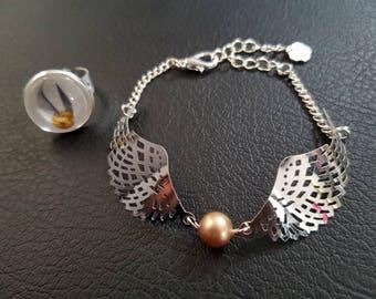 Set Harry Potter: Golden snitch bracelet and bright gold ring
