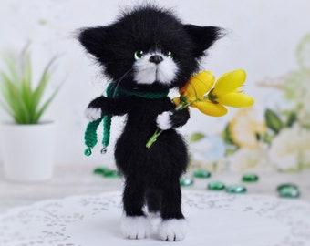 9d72d05d5c32 Crochet black kitten with flowers Stuffed cat hand knit animal softie cat  plush toy cat amigurumi cat fuzzy cat toy