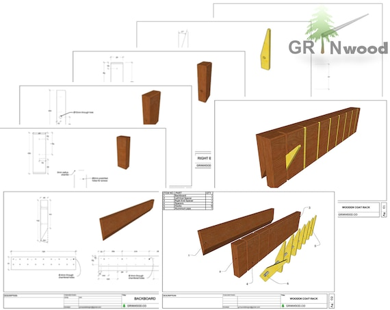 Coat Rack Woodworking Plans Digital Pdf Drawings 40 Sheets Etsy Gorgeous Coat Rack Woodworking Plans
