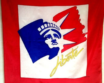 Vintage STATUE OF LIBERTY French Silk Scarf in red white and blue.