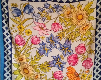 Spring Flowers French Silk Scarf of sunflowers, yellow primroses, bluebells and iris, with trellis border. Vintage pretty wildflowers gift.