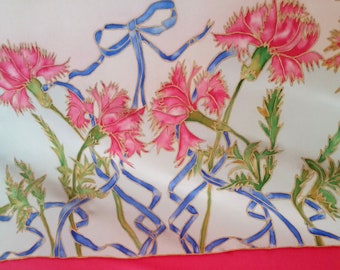 Vintage PINK CARNATIONS French Silk Scarf with blue ribbons and bows. Lovely symbol of gratitude.