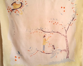 1960s FRENCH CHERRY TREE vintage silk scarf of young couple collecting spring time fruit. A truly unique design, from Paris, France.