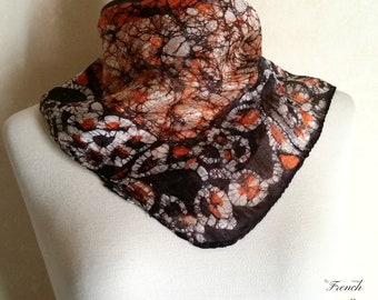 Vintage BOHO BATIK NECKERCHIEF of raw silk with a seeing eye design in natural earth tone colors. Great hipster hair or handbag tie.
