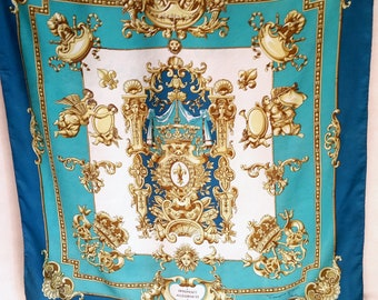 Vintage FRENCH BAROQUE HERALDRY Silk Scarf by Francoise Guerin, Paris in gorgeous tuquoise, teal and gold.