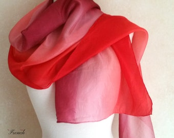 Vintage FRENCH SHADES of RED Silk Scarf from dark burgundy to palest pastel. Beautiful and elegant neck wrap.