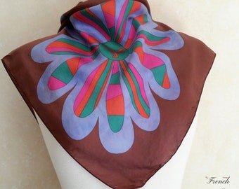 1960s GROOVY FLOWERS French Vintage Silk Scarf of psychedelic neon colours and boho tie dye petals on maroon brown by UAP.