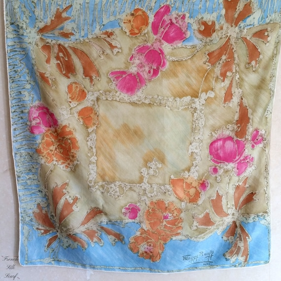 1960s VINTAGE MAGGY ROUFF french Silk Scarf of a s