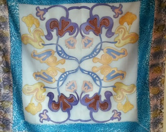 Vintage UNIQUE BOHO CHIC French Silk Scarf of abstract flowers with marbled design borders. A truly one of a kind piece.