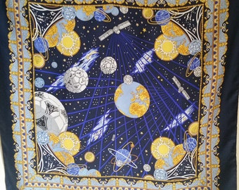 Vintage FOOTBALL WORLD CUP French Silk Scarf of sun, planets, satellite communication by France Telecom for 1998 series.