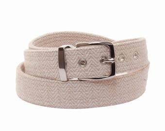 Beige Herringbone Belt / vegan belts, womens gift, anniversary for women, wedding belt, organic, belt for women, herringbone accessories