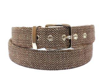 Brown Herringbone Belt / vegan belts, herringbone accessories, vegan accessories, belts for men, women, fabric, anniversary gifts for men