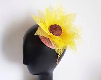 Yellow Orchid Flower Fascinator Rockabilly Headpiece 1950s Races Statement 2943