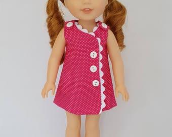Pink pokadot dress fits Wellie Wisher dolls