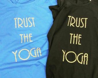 Yoga Tshirt, Trust The Yoga Vest (Gold Ink),  Yoga Shirt, Yoga Gift, Women's Yoga, fitness vest, fitness t shirt, yoga tee, yoga tank,