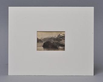 Original Vintage Silver Gelatin Print Photograph. Landscape. Matted