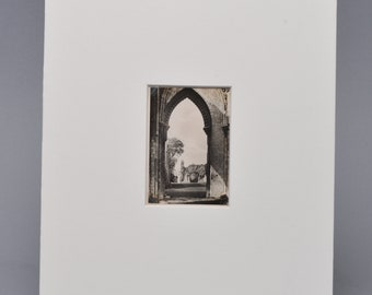 Original Vintage Silver Gelatin Print Photograph. Glastonbury Abby. Matted