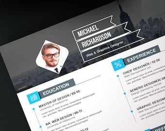 Resume template eps, psd, ms word, instant download, digital file