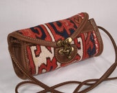 Handmade Kilim Clutch, Made From Real Leather Vintage Turkish Village Kilim