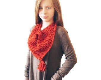 Crochet Triangle Tassel Scarf/Bandana (Pumpkin)