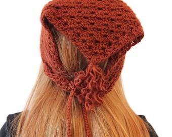 Crochet Triangle Tassel Scarf/Bandana (Rust)