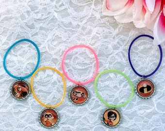 10 Pcs Jelly  Bracelet, The Incredibles 2 Bottle Caps Bracelet  Party Favors, Party Decorations