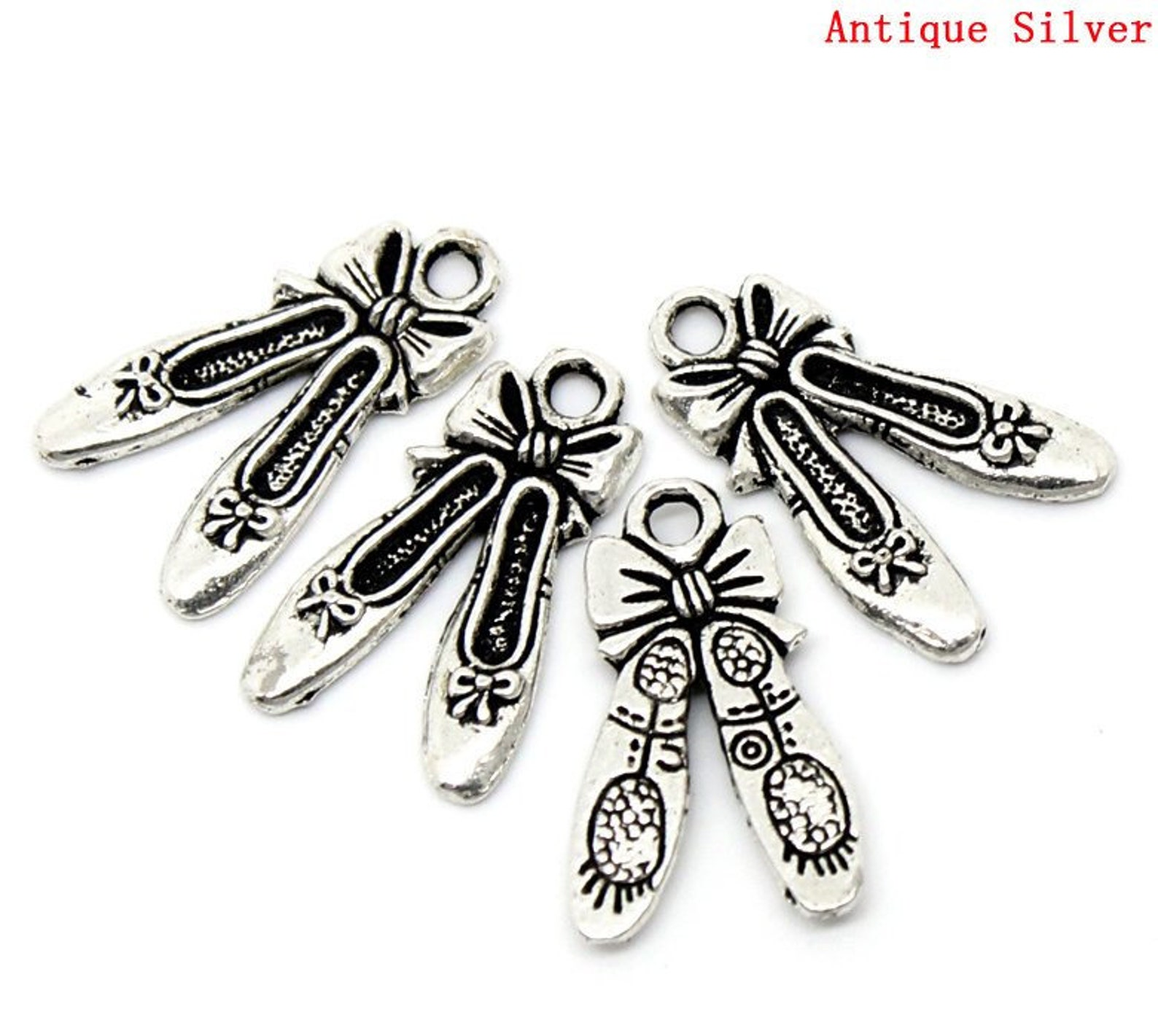 25 ballet shoes antique silver 21x13mm, charms pendants.
