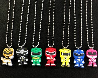 10 Pcs Silver Necklace Power Rangers, Silicone Charms, Round Chain, Party Favors.