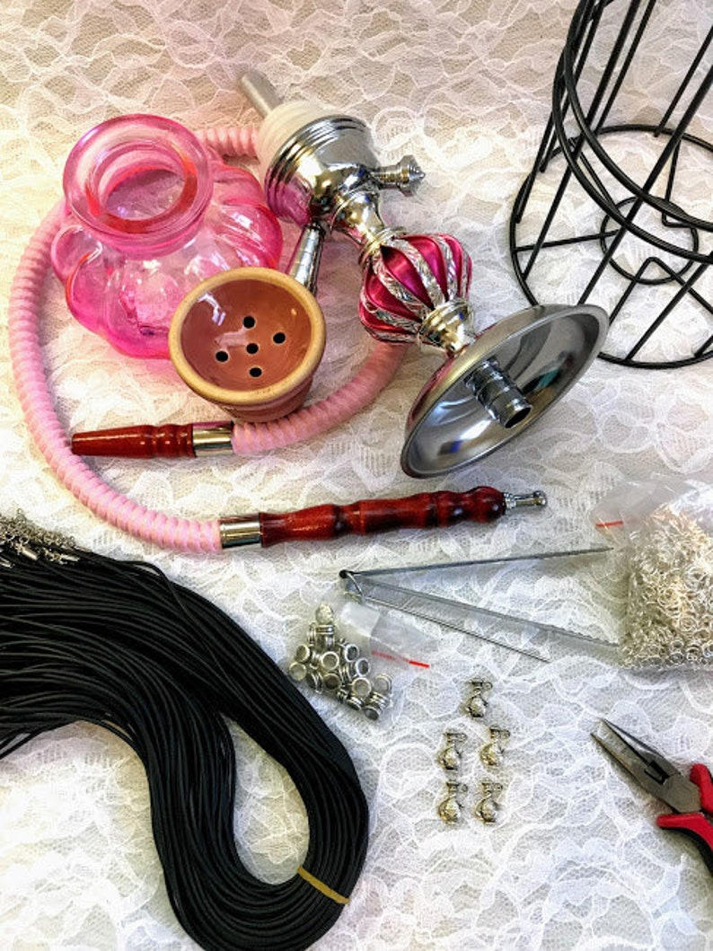 Hookahs Set Glass Hand Crafted Hookahs With Cage And Free Black Necklace Charms Hookah 1 Hose