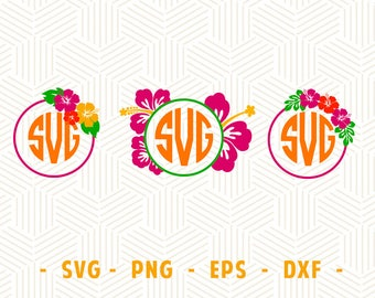 Hibiscus monogram svg Hibiscus SVG Flower monogram frame svg Flower monogram svg files