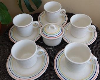 Italian rainbow Mid Century 11 piece tea set