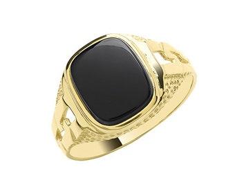 9ct Yellow Gold Men's Cushion Black Onyx Curb Signet Ring