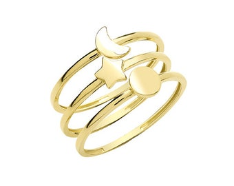 9ct Yellow Gold Celestial Sun, Moon, Star Rings Set of 3, Sizes K to Q (1654)
