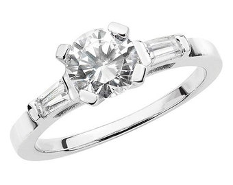 Sterling Silver Round and Baguette Cut Cubic Zirconia Ring Size N