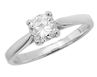 Sterling Silver Round Solitaire Cubic Zirconia Ring, Size K