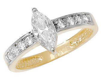 9ct Yellow Gold Marquis and Round Cut Cubic Zirconia Ring, Sizes M to R (686)