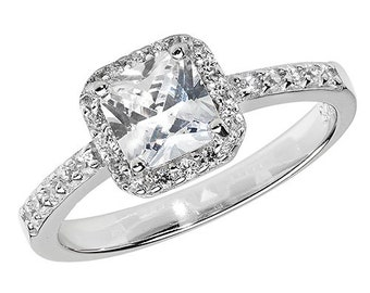 Sterling Silver Princess and Round Cut Cubic Zirconia Cluster Ring Size N
