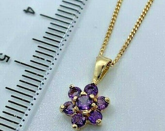 """9ct Yellow Gold Amethyst Gemstone Cluster Pendant on an 18"""" Chain"""
